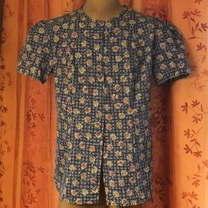 Button up scrubs with daisy design